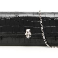McQueen麦昆鳄鱼纹银色骷髅头链条斜挎包手包