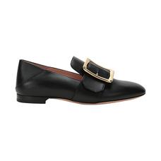 BALLY巴利女士皮革单鞋乐福鞋黑色38码